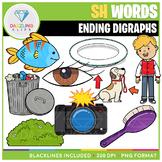 Ending Digraphs SH Words Clip Art