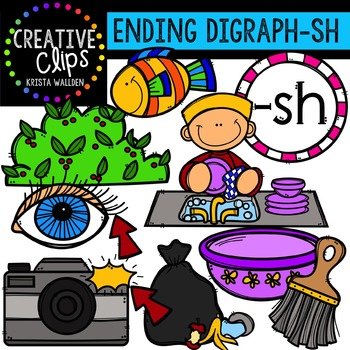 Ending Digraphs - SH Words {Creative Clips Digital Clipart}