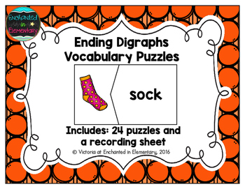 Ending Digraphs Vocabulary Puzzles
