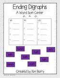 Ending Digraphs Word Work Center