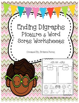 Ending Digraphs Worksheet Sorts