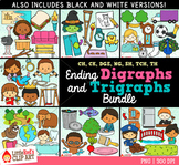 Ending Digraphs and Trigraphs Clip Art BUNDLE