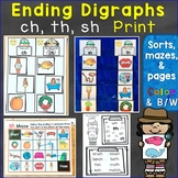 Ending Digraphs sh, th, ch Print Activities (Sorting, Maze