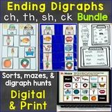 Ending Digraphs sh, th, ch Print & Digital Bundle Sorting,