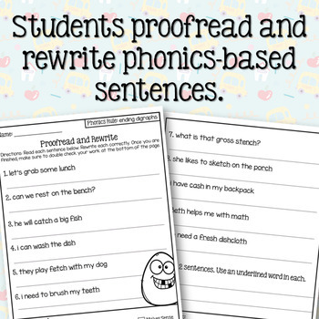 Ending Digraphs (sh, th, ch) Sentence Writing Activity (3 in 1)