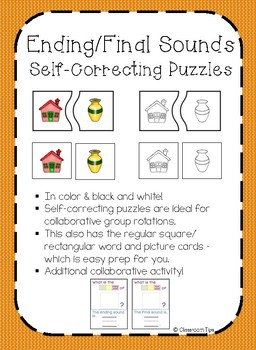 Ending/Final Sound: Self-Correcting Puzzles (COLOR & BW)