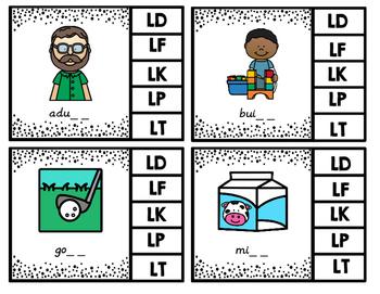 Ending L Blends Clip Cards