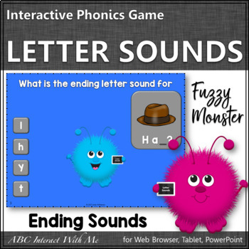 Ending Letter Sounds Interactive Alphabet Game {Fuzzy Monster}