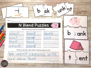 Ending Blends (nt, nk, nd) Word Work