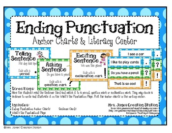 Ending Punctuation: Anchor Charts and Literacy Center