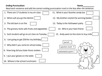 Ending Punctuation Center & Worksheets--Valentine's Day Theme