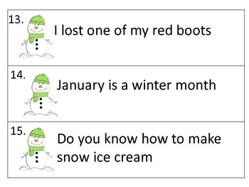 Ending Punctuation Center and Worksheets---Winter  Theme