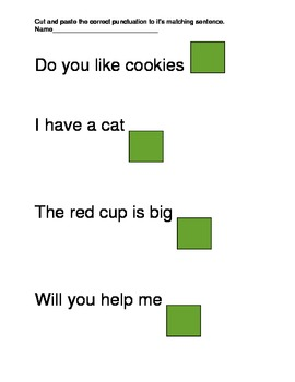 Ending Punctuation Cut and Paste activity page