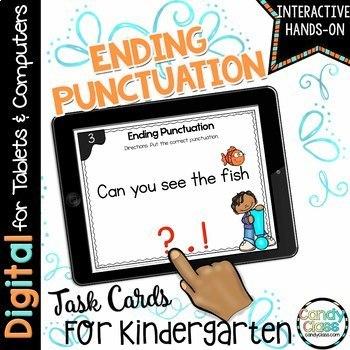 Ending Punctuation Kindergarten Digital Task Cards - Paperless