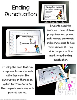 Ending Punctuation Digital Task Cards - Paperless for Google Classroom Use