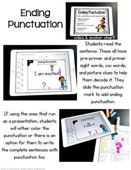 Ending Punctuation Activity: Kindergarten Google Classroom Distance Learning