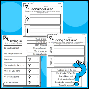 Ending Punctuation: Period and Question Mark: Mystery Pic, Sentences, Worksheets