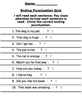 Ending Punctuation Quiz