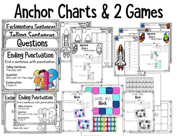Ending Punctuation Task Cards for Kindergarten with Anchor Charts & Games