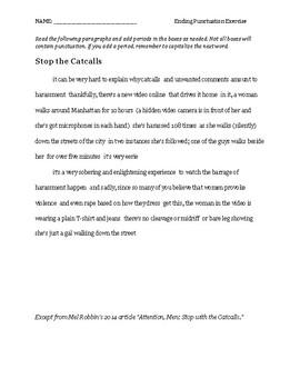 Ending Punctuation Worksheet