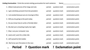 Ending Punctuation Worksheets (10 worksheets)