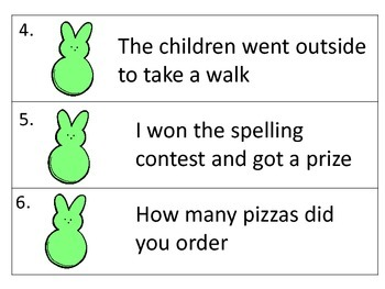 Ending Punctuation--activity, task cards, worksheets--Easter Theme