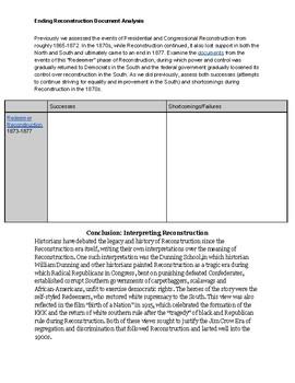 Ending Reconstruction Document Analysis