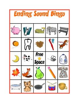 Ending Sound Bingo By Kindergarten Kreative Teachers Pay