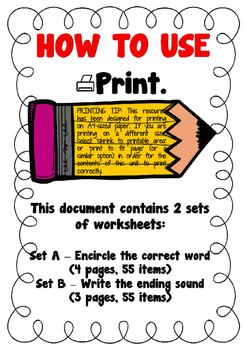Ending Sound CVC Worksheets (2 sets)
