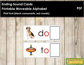 Ending Sound Cards for Printable Moveable Alphabet PRINT - Black/Red