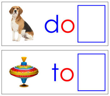 Ending Sound Cards for Printable Moveable Alphabet PRINT - Blue/Red