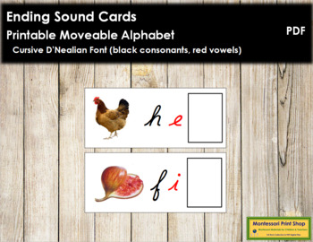 Ending Sound Cards for Printable Moveable Alphabet CURSIVE - Black/Red