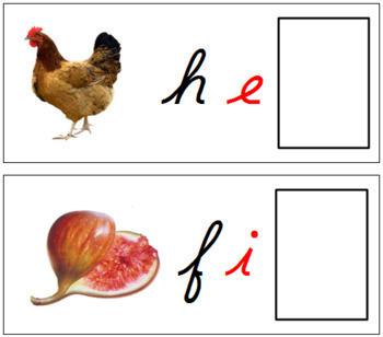 Ending Sound Cards for Printable Moveable Alphabet CURSIVE - Black/Red