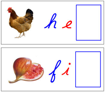Ending Sound Cards for Printable Moveable Alphabet CURSIVE - Blue/Red