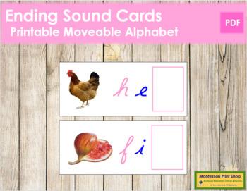 Ending Sound Cards for Printable Moveable Alphabet CURSIVE - Pink/Blue
