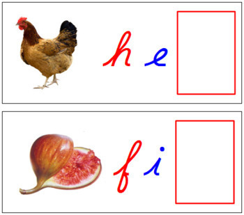 Ending Sound Cards for Printable Moveable Alphabet CURSIVE - Red/Blue