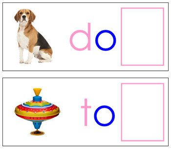 Ending Sound Cards for Printable Moveable Alphabet PRINT - Pink/Blue
