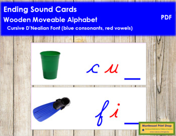 Ending Sound Cards for Wood Moveable Alphabet CURSIVE - Blue/Red