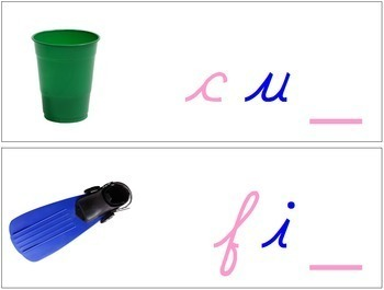 Ending Sound Cards for Wood Moveable Alphabet CURSIVE - Pink/Blue