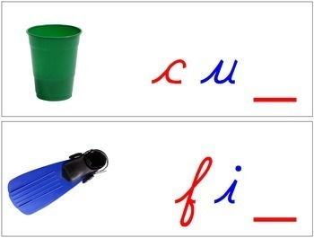 Ending Sound Cards for Wood Moveable Alphabet CURSIVE - Red/Blue