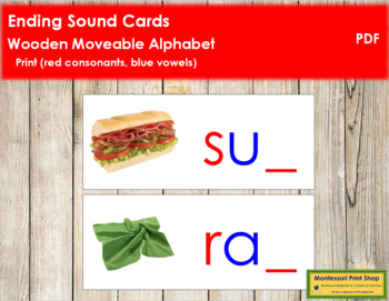Ending Sound Cards for Wood Moveable Alphabet PRINT - Red/Blue