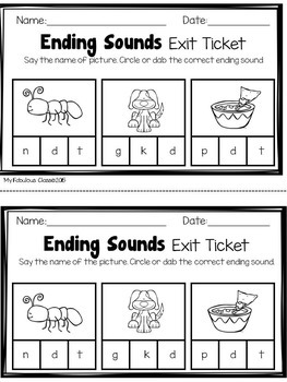 Ending Sound Exit Tickets