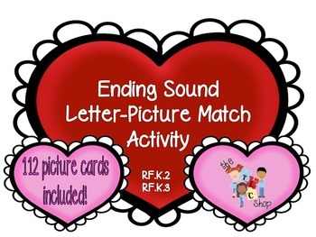 Ending Sound Hearts: Letter-Picture Matching Activity