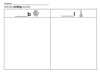Ending Sound Sort - B and L