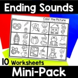 Ending Sound Worksheets - No Prep Ending Sound Activities