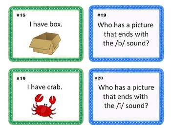 Kindergarten and First Grade Ending Sounds Practice I Have Who Has Cards