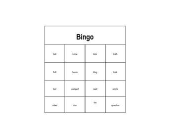Ending Sounds Bingo