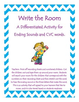 Ending Sounds Bundle - Including a Write the Room Activity and 5 Worksheets