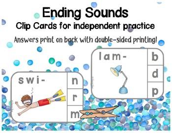 Ending Sounds Clip Cards 2