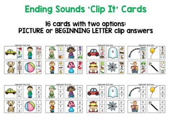 Ending Sounds Clip Cards